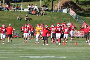 Photos from Chiefs training camp Monday morning at Missouri Western State University.  Starting running back Jamaal Charles sprints down the middle of the field.  Click here for more information on Chiefs camp.