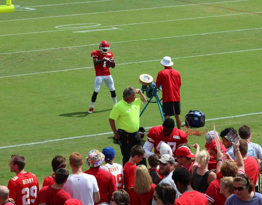 Rookie De' Anthony Thomas spends the moments following team practice doing ball drills.