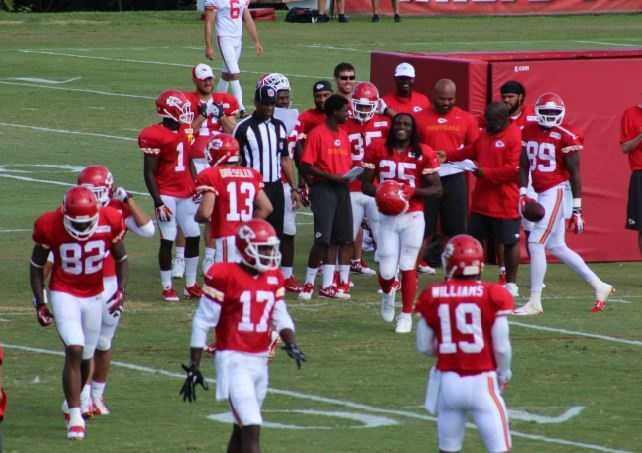 Number 82 Dwayne Bowe is in focus as a primary receiver in the Kansas City offense. The surrounding core of receivers remains blurred thus far in camp.