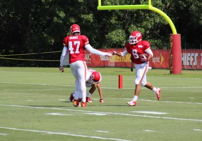 Kansas City Chiefs fans look forward to a wide receiver emerging from training camp.  Albert Wilson gives teammate Demetrius Harris a high-five after scoring a touchdown in a 7-on-7 drill during training camp.  Wilson is a rookie listed at 5 feet, 9 inches tall out of George State.