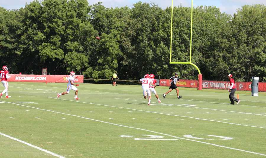 Kansas City Chiefs fans look forward to a wide receiver emerging from training camp. 29-year-old Weston Dressler catches a pass for a touchdown in practice.