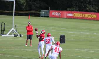 Kansas City Chiefs fans look forward to a wide receiver emerging from training camp.  Jerrell Jackson makes an over-the-shoulder catch in practice.