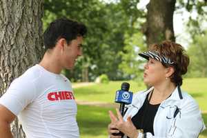 Chiefs rookie quarterback Aaron Murray chats with KMBC 9 News sports reporter Karen Kornacki after practice Wednesday.  Murray discusses how his brother, Josh Murray, recently was given the final rose by Andi Dorfman on ABC's The Bachelorette.