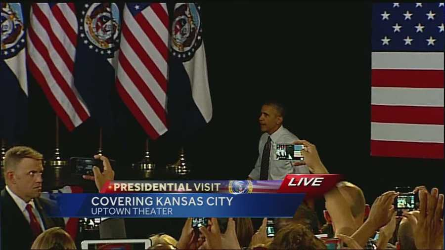 The president took at the stage at the Uptown Theater at 11:06 a.m. He spoke about the economy.