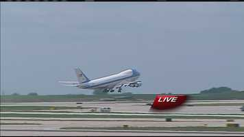 It was wheels up for Air Force One at 1:35 p.m.