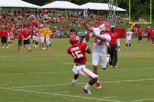 Chiefs training camp continued Wednesday morning at Missouri Western State University. Wide receiver A.J. Jenkins makes a difficult catch by the sidelines.