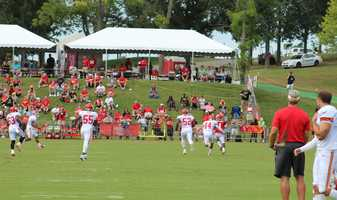 Chiefs training camp continued Wednesday morning at Missouri Western State University. The Kansas City coaching staff is creating different opportunities for rookie De'Anthony Thomas in the offense. Here he scampers for a redzone catch after lining up at wide receiver.