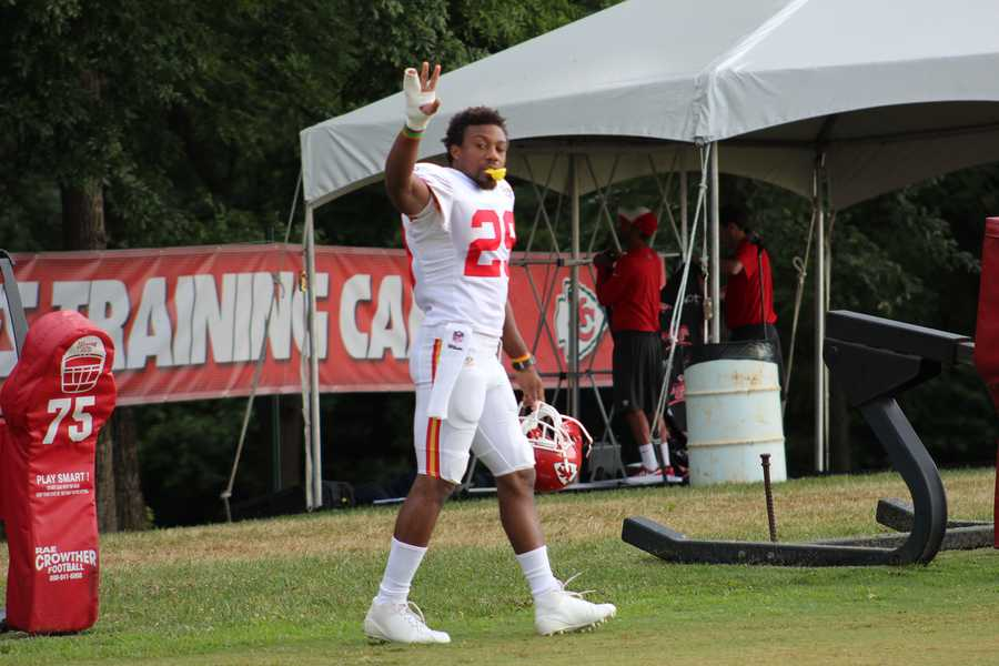 Chiefs training camp continued Wednesday morning at Missouri Western State University. Safety Eric Berry waves to fans as practice begins.