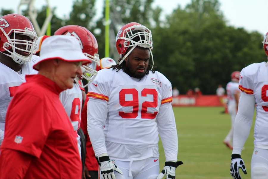 Chiefs training camp continued Wednesday morning at Missouri Western State University. Defensive tackle Dontari Poe takes part in drills.