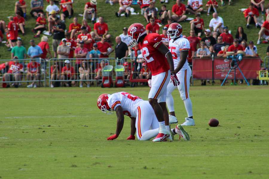 Chiefs training camp continued Wednesday morning at Missouri Western State University.  Safety Sanders Commings is injured on a play and walked off the field with the help of Chiefs staff.