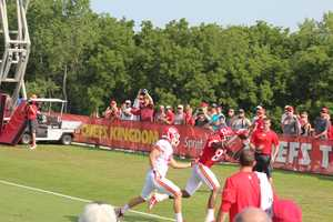 Photos from Chiefs training camp Thursday morning at Missouri Western State University.  Chiefs veteran receiver Dwyane Bowe runs a route into the endzone for a touchdown.