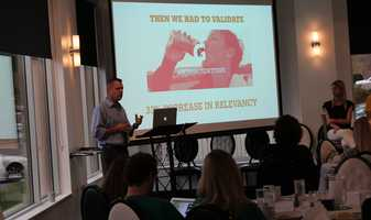VML's Gatoarade account team gave a presentation called #OwningYourHashtag. Gatorade account reps recreated the #WinFromWithin hashtag campaign and say they saw a 33 percent increase in relevancy.