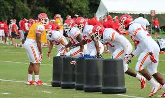 The Kansas City Chiefs practice a final time from training camp before their first preseason game versus the Cincinnati Bengals Thursday. Rookie Dee Ford (center) was the Chief's first round selection in May's NFL Draft.