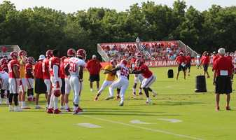 The Kansas City Chiefs practice a final time from training camp before their first preseason game versus the Cincinnati Bengals Thursday. Rookie Dee Ford rushes the quarterback during a pass-blocking drill at training camp.