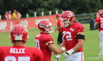 The Kansas City Chiefs practice a final time from training camp before their first preseason game versus the Cincinnati Bengals Thursday. Former first overall pick Eric Fisher (number 72) takes on a couple of teammates.