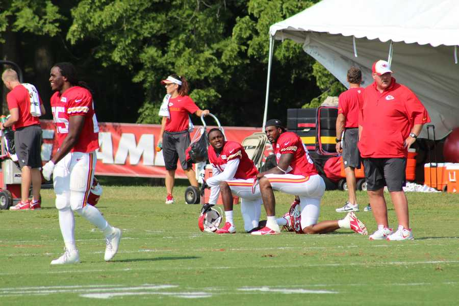 The Kansas City Chiefs practice a final time from training camp before their first preseason game versus the Cincinnati Bengals Thursday.