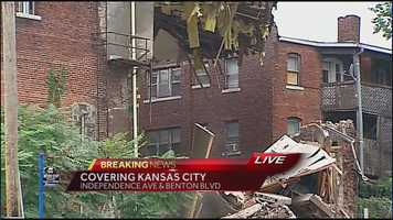 Images of a building that partially collapsed at Independence Avenue and Benton Boulevard on Thursday morning.
