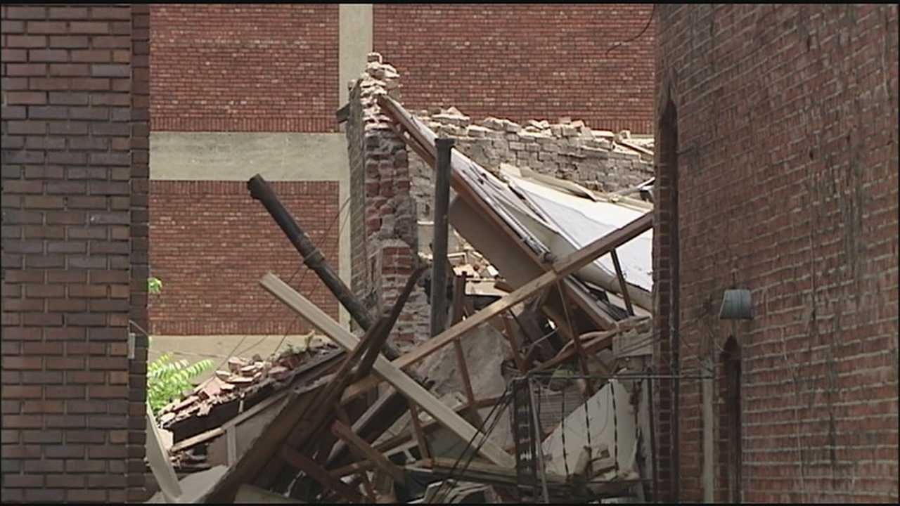 Investigators are looking into the cause of a wall collapse at a Kansas City church that sent 44 children and their Bible school leaders running for their lives.