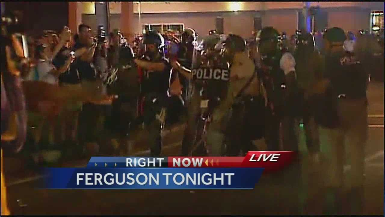 Watch 35 minutes of uninterrupted coverage from Ferguson, Missouri, from Monday night, as police and protesters clashed in the streets.