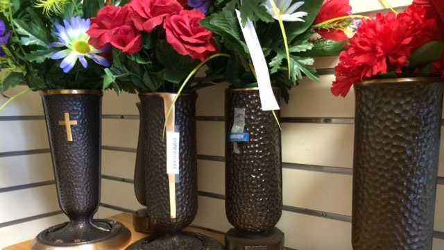 Bronze cemetery vases