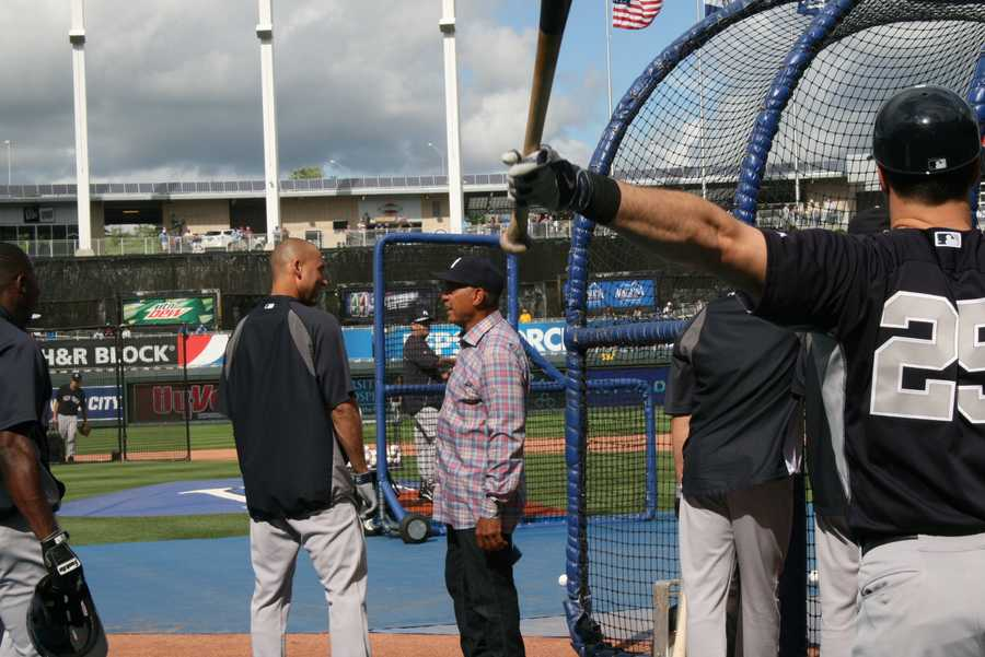 Photos taken during first leg of New York Yankees series in Kansas City June 6-8th. Jeter has a conversation with Yankees legend Reggie Jackson during batting practice.