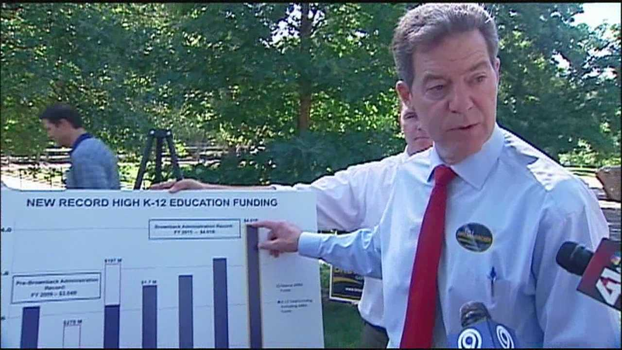 Brownback touts education spending on campaign stop