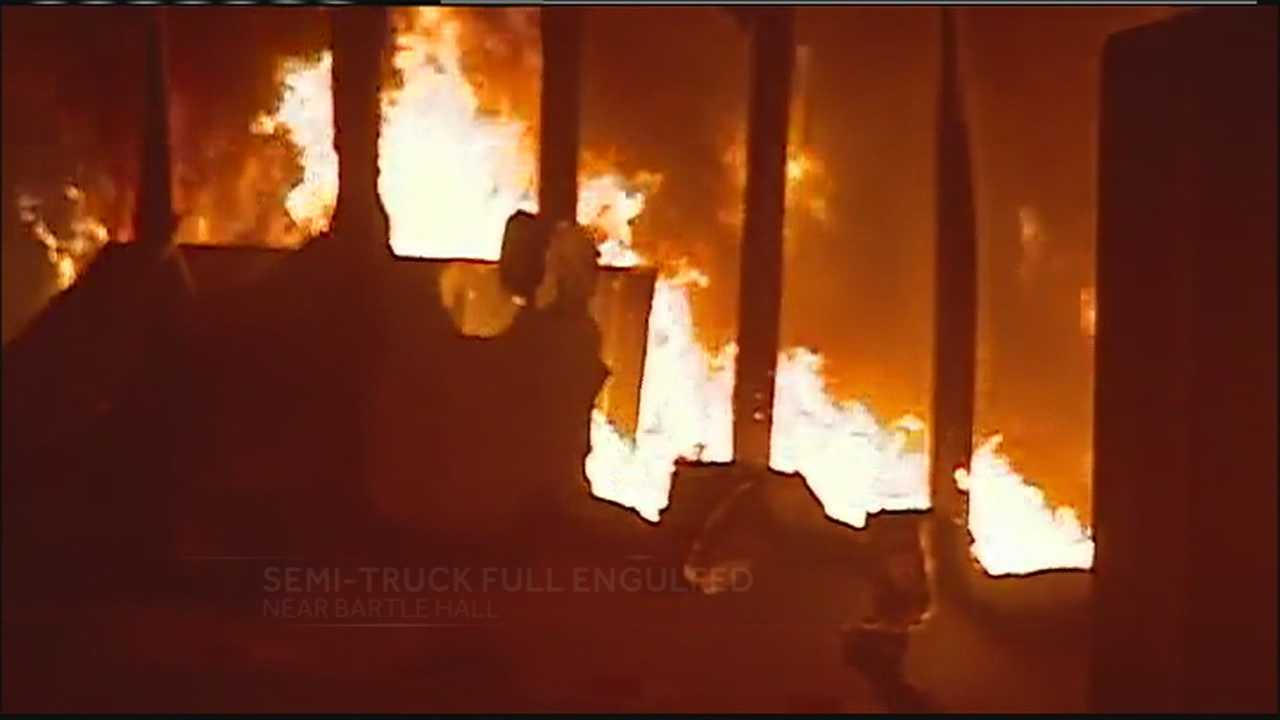 A tractor trailer jack knifed and caught fire on the downtown loop under Bartle Hall early Saturday morning, shutting down the highway and filling Bartle Hall with smoke.