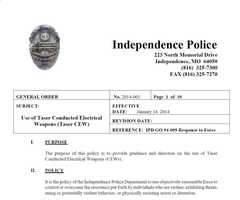 According to Independence police, the purpose of this police is to provide guidance and direction on the use of Taser Conducted Electrical Weapons (CEWs). Independence Police