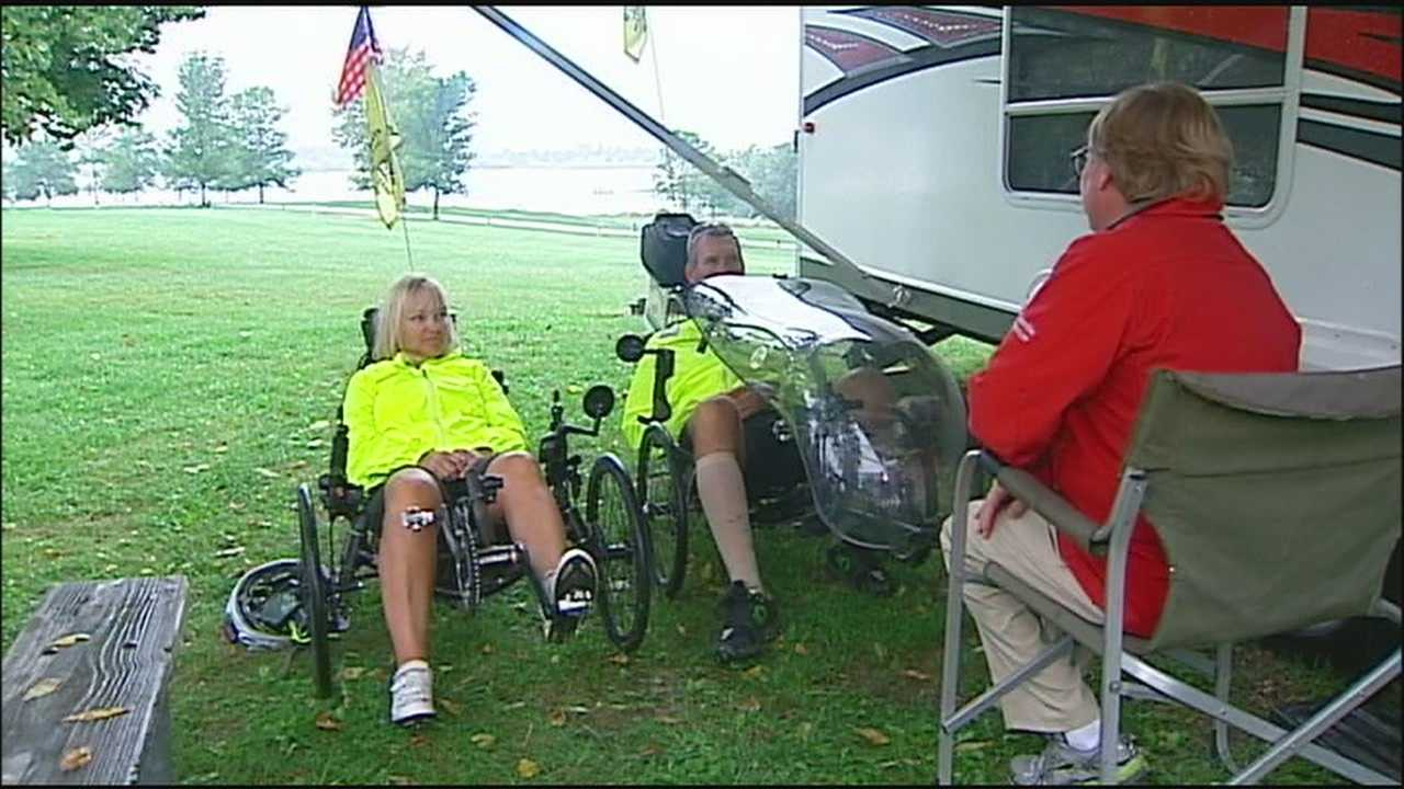 Two cyclists, both of whom recovered from brain injuries, are riding across the country to send a message of inspiration to others with a similar condition.