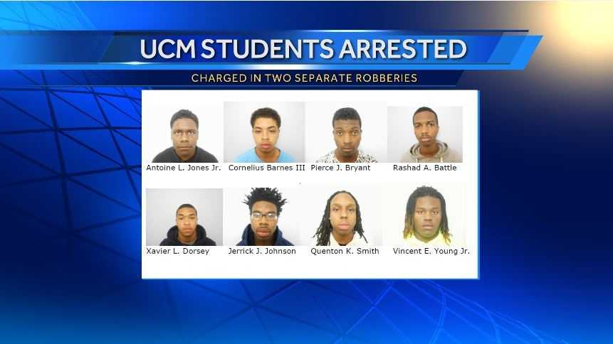 Warrensburg police release the names of eight students charged with armed robberies.