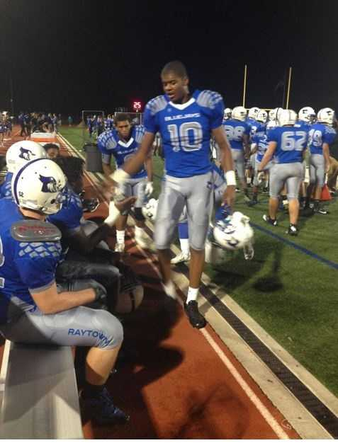 Raytown played Raytown South in Friday night's HyVee Game of the Week. Raytown's tall target at wide receiver, Derrick Walker, and the Bluejays jumped out to a 14-0 lead in the first half.