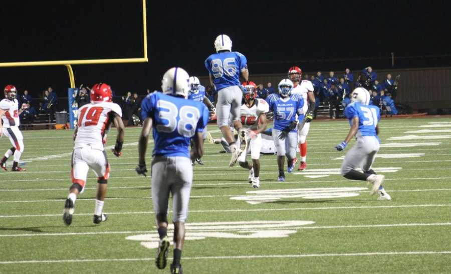 Raytown played Raytown South in Friday night's HyVee Game of the Week. Raytown South throws an interception late in the game during a desperate fourth down attempt.