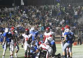 Raytown played Raytown South in Friday night's HyVee Game of the Week.  Raytown South scored first in overtime, which was matched by a touchdown by Raytown.