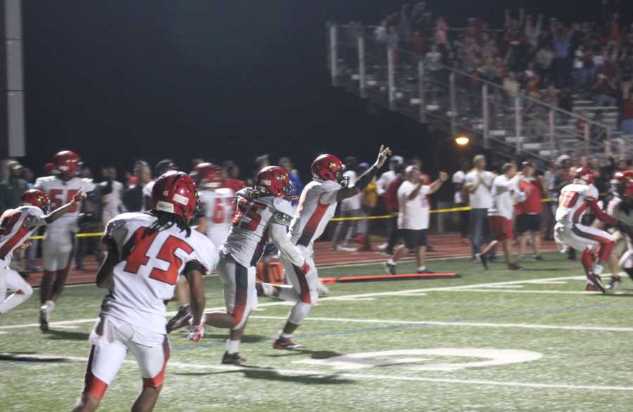 Raytown played Raytown South in Friday night's HyVee Game of the Week. Raytown fails to match a two point conversion and Raytown South wins in overtime 36-34.