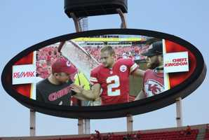 On the eve of the Royals first playoff appearance since 1985, players showed up for Monday Night Football at Arrowhead Stadium.  The baseball club from across the parking lot inspired the Chiefs.  Kansas City dominated the New England Patriots, winning 41-14.  Tuesday the Royals host the Oakland A's at Kauffman Stadium. Designated hitter Billy Buter and punter Dustin Colquitt exchange high-fives.
