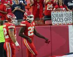 On the eve of the Royals first playoff appearance since 1985, players showed up for Monday Night Football at Arrowhead Stadium.  The baseball club from across the parking lot inspired the Chiefs.  Kansas City dominated the New England Patriots, winning 41-14.  Running back Jamaal Charles returned from injury to score three touchdowns.