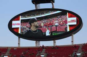 On the eve of the Royals first playoff appearance since 1985, players showed up for Monday Night Football at Arrowhead Stadium.  The baseball club from across the parking lot inspired the Chiefs.  Kansas City dominated the New England Patriots, winning 41-14.  Tuesday the Royals host the Oakland A's at Kauffman Stadium.  The expected starting pitcher for that game, James Shields, waves to fans during the pregame.
