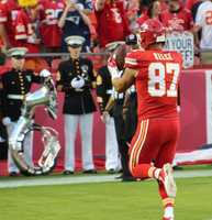 On the eve of the Royals first playoff appearance since 1985, players showed up for Monday Night Football at Arrowhead Stadium.  The baseball club from across the parking lot inspired the Chiefs.  Kansas City dominated the New England Patriots, winning 41-14.  A national audience was introduced to Chiefs tight end, Travis Kelce.  The second-year player finished the game with eight catches for ninety-three yards and a touchdown.
