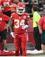 On the eve of the Royals first playoff appearance since 1985, players showed up for Monday Night Football at Arrowhead Stadium.  The baseball club from across the parking lot inspired the Chiefs.  Kansas City dominated the New England Patriots, winning 41-14.  Backup running back Knile Davis continued productive contributions to this 2014 season.  He ran the ball sixteen times for 107 yards.