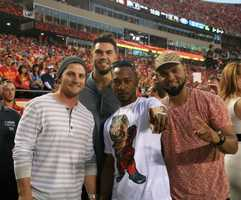 On the eve of the Royals first playoff appearance since 1985, players showed up for Monday Night Football at Arrowhead Stadium.  The baseball club from across the parking lot inspired the Chiefs.  Kansas City dominated the New England Patriots, winning 41-14.  Tuesday the Royals host the Oakland A's at Kauffman Stadium.  Royals players pose for photos and say hello to their fans in the pregame.