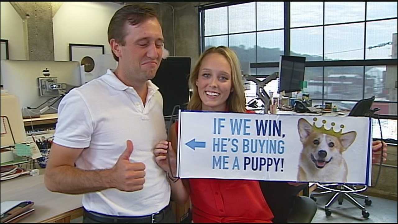 A Royals fan who said he would buy a puppy for his girlfriend if the Royals won their playoff game says he's more than happy to fulfill his end of the deal.