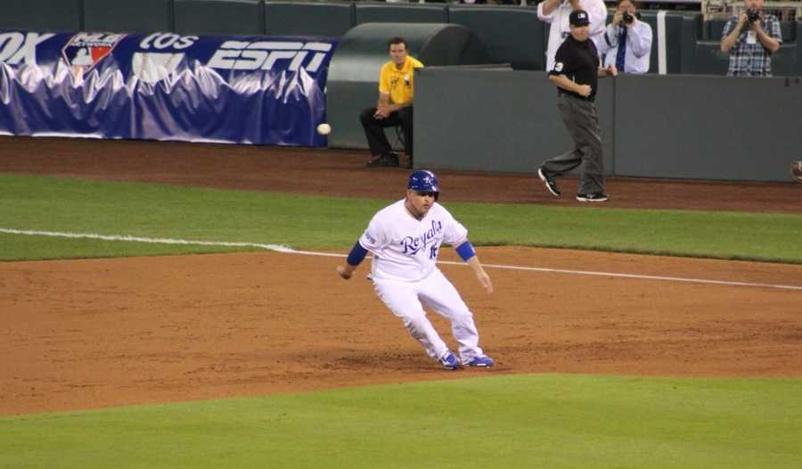 The Kansas City Royals host the Oakland Athletics. Billy Butler gets caught in a pickle and Eric Hosmer is thrown out at home plate on the play.