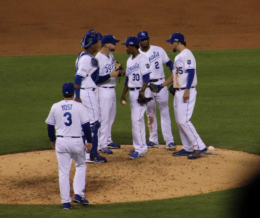 The Kansas City Royals host the Oakland Athletics in the AL Wild Card game.  Yordano Ventura came into the game to relieve James Shields.  He gave up a home run to Brandon Moss moments after entering the game.    Coco Crisp also hit an RBI.  A's led 7-3 after six innings.