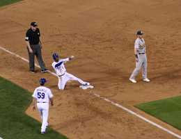 The Kansas City Royals host the Oakland Athletics in the AL Wild Card game.  Down one run in the bottom of the ninth inning, Jarrod Dyson pinch runs for Josh Willingham after he singled.  Dyson stole third base.