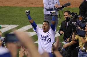 The Kansas City Royals host the Oakland Athletics in the AL Wild Card game.  Christian Colon singles to score Eric Hosmer in the twelfth inning. Salvador Perez then hit a game-winning single to score Colon.  Royals win their first postseason game in twenty-nine years, 9-8.