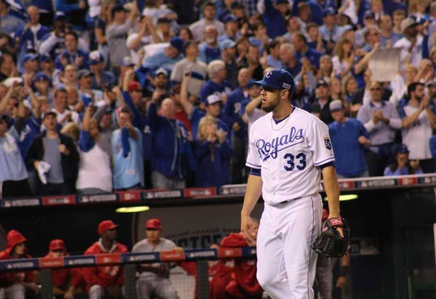 Royals host the Angels in Game 3 of the ALDS.  Royals starting pitcher James Shields went six innings, giving up two runs and striking out six batters.