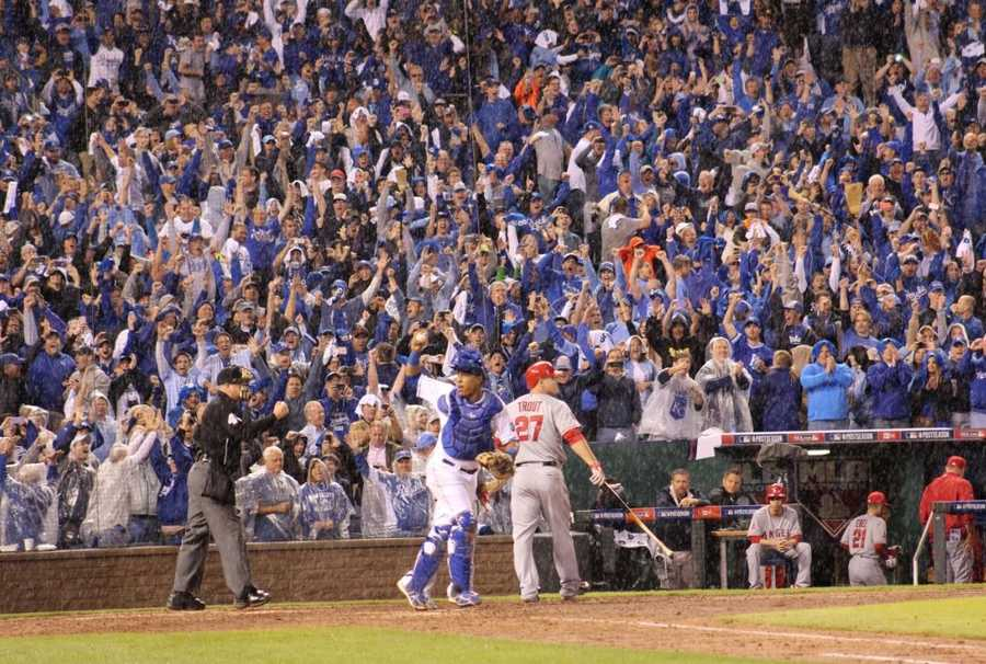 Royals host the Angels in Game 3 of the ALDS.  As he had done all season, Royals reliever Greg Holland got the final out.  Royals won by a score of 8-3.  Kansas City rejoices after sweeping the ALDS in three games.