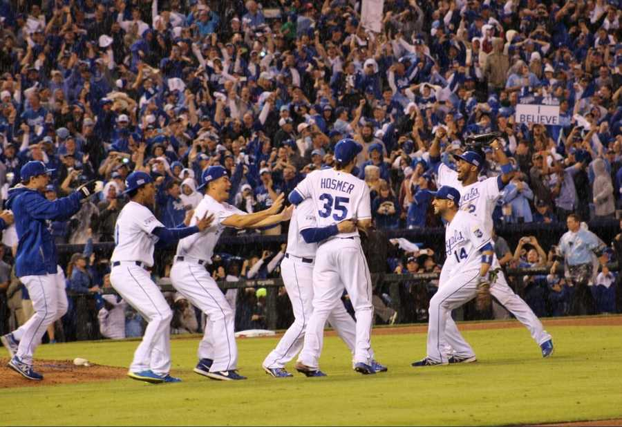 Royals host the Angels in Game 3 of the ALDS.  As he had done all season, Royals win by a score of 8-3.  Kansas City rejoices after sweeping the ALDS in three games.