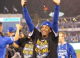 Royals host the Angels in Game 3 of the ALDS.  As he had done all season, Royals win by a score of 8-3.  Kansas City rejoices after sweeping the ALDS in three games.  Royals starting pitcher from Game 2, Yordano Ventura, celebrates.