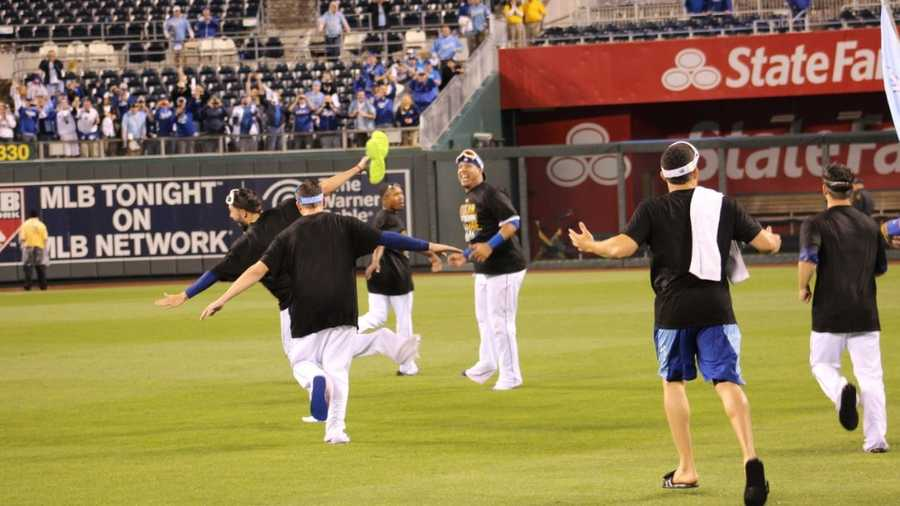 Royals host the Angels in Game 3 of the ALDS.  As he had done all season, Royals win by a score of 8-3.  The entire Royals team rounded the stadium, giving fans high-fives.